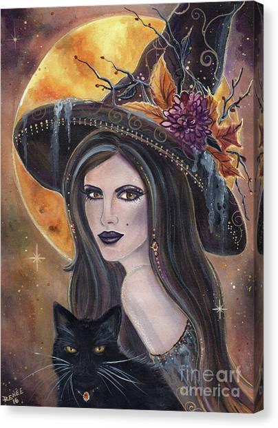 Witches Canvas Print - Sable And Salem Halloween Witch by Renee Lavoie