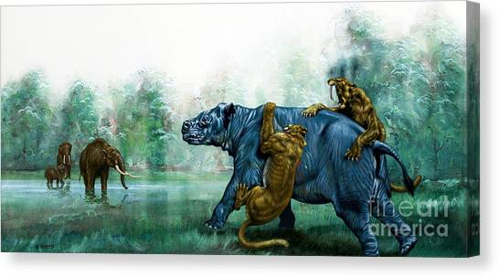 Jurassic Park Canvas Print - Sabre Toothed Tigers  Prehistoric Animals by David Nockels