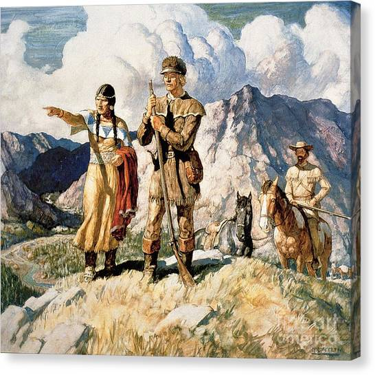 Indian Canvas Print - Sacagawea With Lewis And Clark During Their Expedition Of 1804-06 by Newell Convers Wyeth