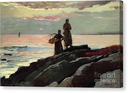 Beach Cliffs Canvas Print - Saco Bay by Winslow Homer