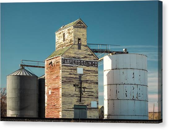 Rustic Canvas Print - Saco Grain Elevator by Todd Klassy