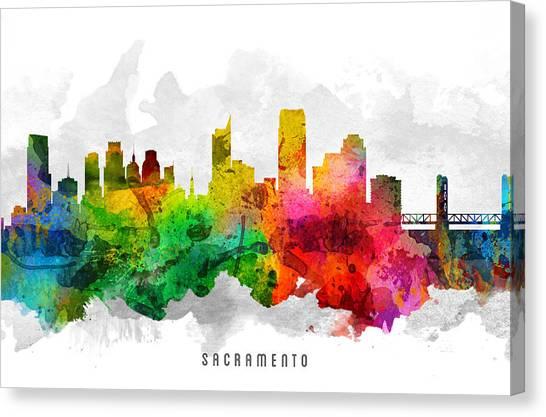 Sacramento State Canvas Print - Sacramento California Cityscape 12 by Aged Pixel