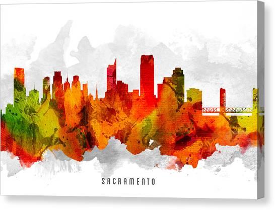 Sacramento State Canvas Print - Sacramento California Cityscape 15 by Aged Pixel