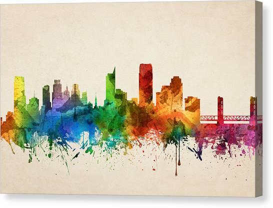 Sacramento State Canvas Print - Sacramento California Skyline 05 by Aged Pixel