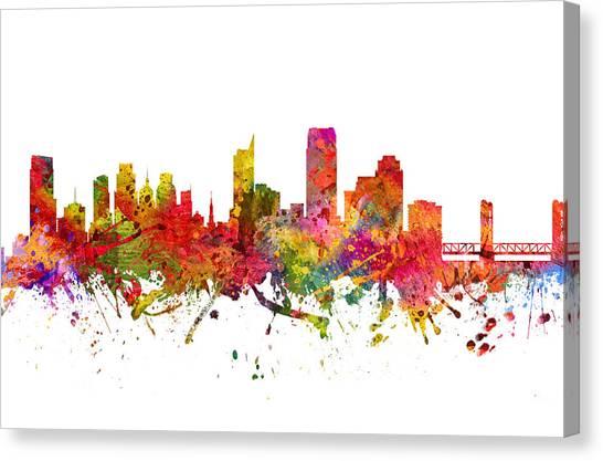 Sacramento State Canvas Print - Sacramento Cityscape 08 by Aged Pixel