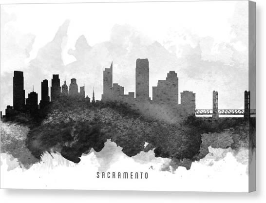 Sacramento State Canvas Print - Sacramento Cityscape 11 by Aged Pixel