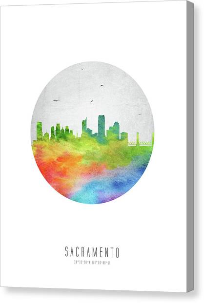 Sacramento State Canvas Print - Sacramento Skyline Uscasa20 by Aged Pixel