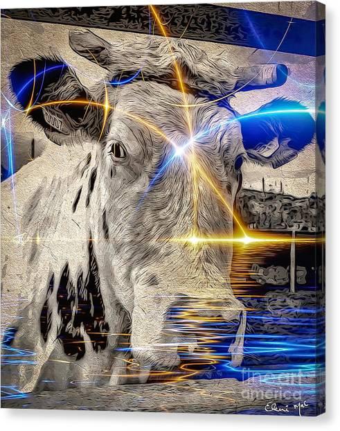Canvas Print featuring the digital art Sacred Cow by Eleni Mac Synodinos