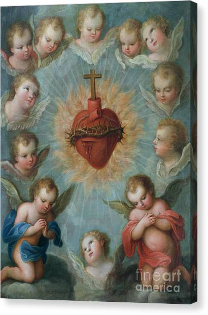 Christian Sacred Canvas Print - Sacred Heart Of Jesus Surrounded By Angels by Jose de Paez