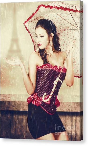 Bare Shoulder Canvas Print - Sad French Pin-up Woman. Loss In The City Of Love by Jorgo Photography - Wall Art Gallery