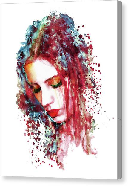 Red Eye Canvas Print - Sad Woman by Marian Voicu