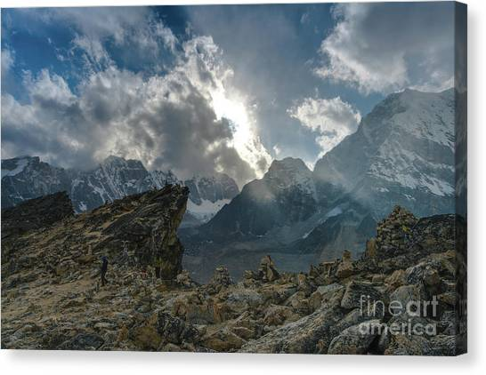 K2 Canvas Print - Saddle Of Kalla Patthar Nepal by Mike Reid