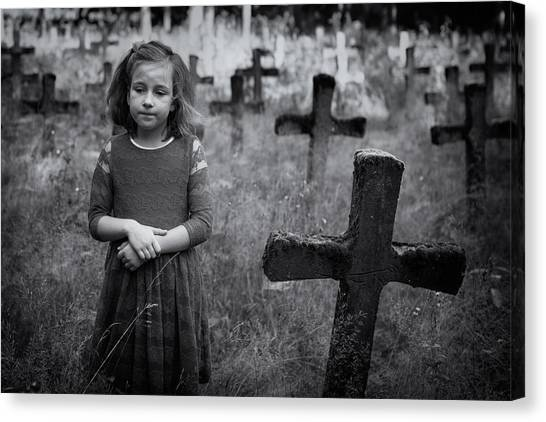 Graveyard Canvas Print - Sadness by Mirjam Delrue