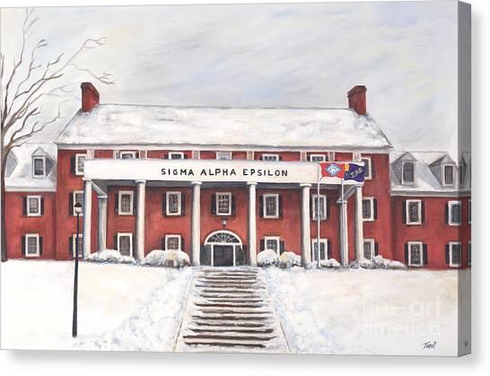Sigma Alpha Epsilon Canvas Print - Sae Fraternity House At Uofa by Tansill Stough