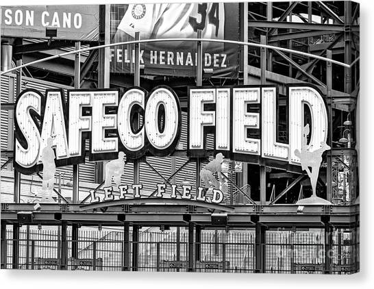 Seattle Mariners Canvas Print - Safeco Field Bw by Jerry Fornarotto