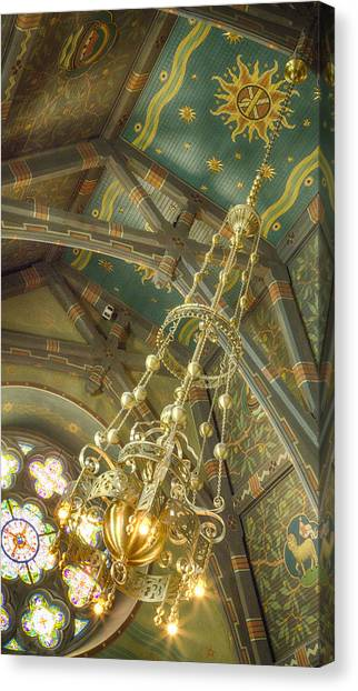 Cornell University Canvas Print - Sage Chapel Ceiling And Light by Stephen Stookey