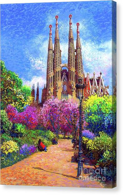 Catholic Canvas Print - Sagrada Familia And Park Barcelona by Jane Small