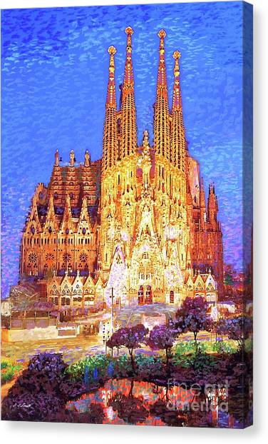 Mary Canvas Print - Sagrada Familia At Night by Jane Small