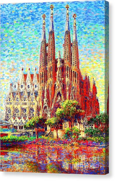 Temple Canvas Print - Sagrada Familia by Jane Small