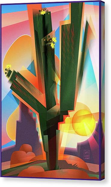 Sonoran Desert Canvas Print - Saguaro Sunrise by Garth Glazier