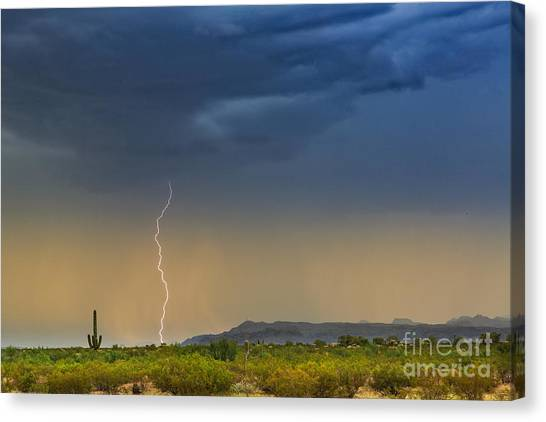 Saguaro With Lightning Canvas Print