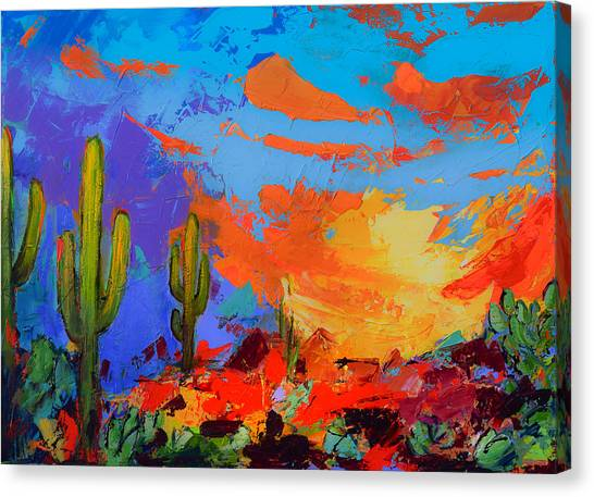 Fauvism Canvas Print - Saguaros Land Sunset by Elise Palmigiani