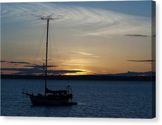 Sail Boat At Sunset Canvas Print