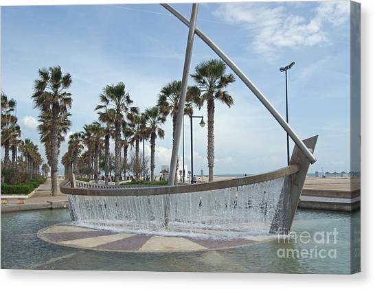Sail Boat Fountain In Valencia Canvas Print
