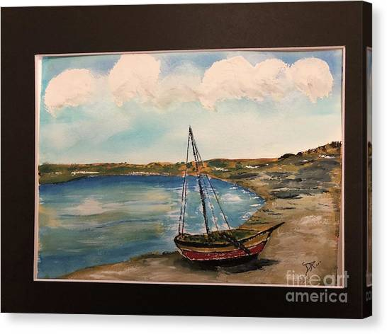 Canvas Print featuring the painting Sail Boat On Shore by Donald Paczynski