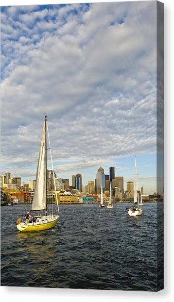 Sail On Seattle Canvas Print by Tom Dowd
