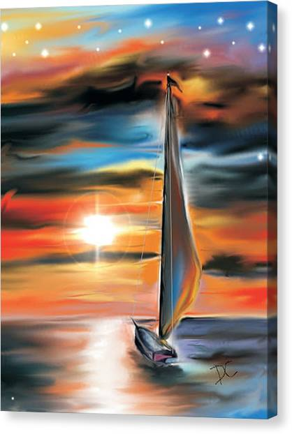 Canvas Print featuring the digital art Sailboat And Sunset by Darren Cannell