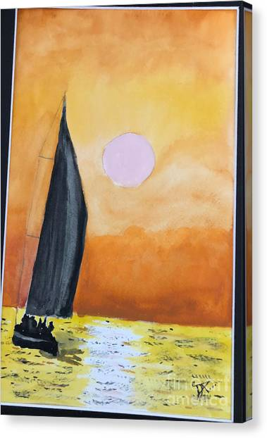 Canvas Print featuring the painting Sailboat by Donald Paczynski