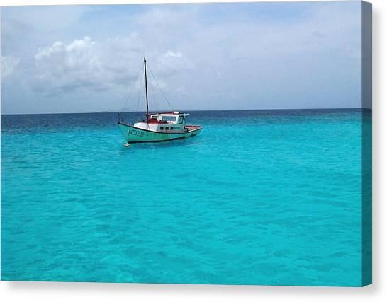 Sailboat Drifting In The Caribbean Azure Sea Canvas Print