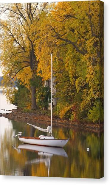 Sailboat In Alburg Vermont  Canvas Print
