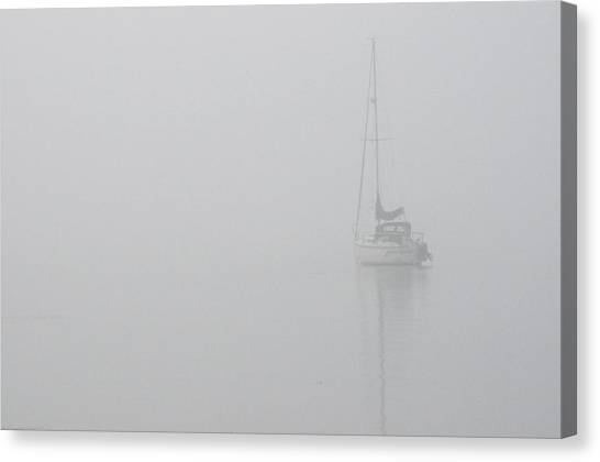 Sailboat In Fog Canvas Print