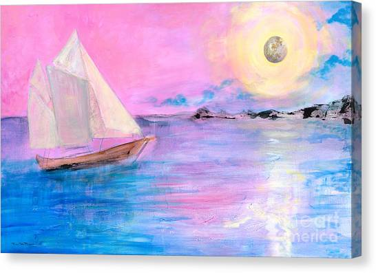 Sailboat In Pink Moonlight  Canvas Print