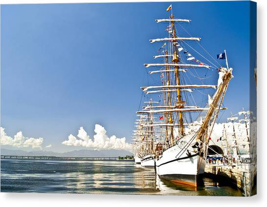 Sailboat In Rio Canvas Print by Daniel Wander