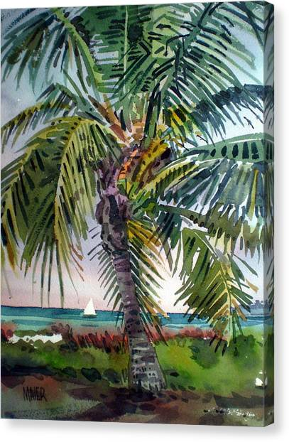 Palm Trees Canvas Print - Sailboat In The Keys by Donald Maier