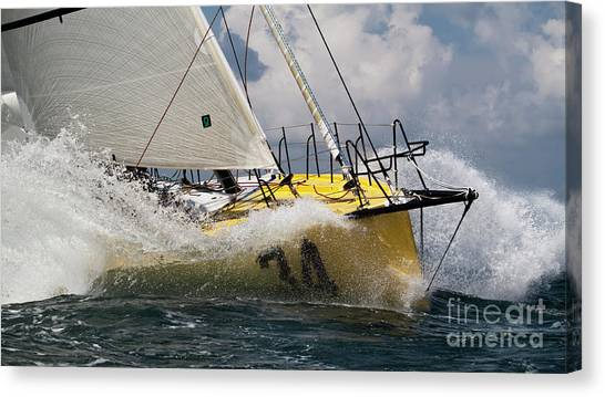 Sailboat Le Pingouin Open 60 Charging  Canvas Print