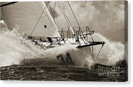 Sailboat Canvas Print - Sailboat Le Pingouin Open 60 Sepia by Dustin K Ryan