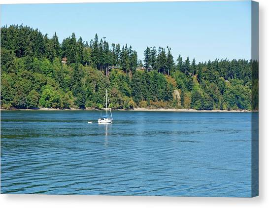 Sailboat Near San Juan Islands Canvas Print