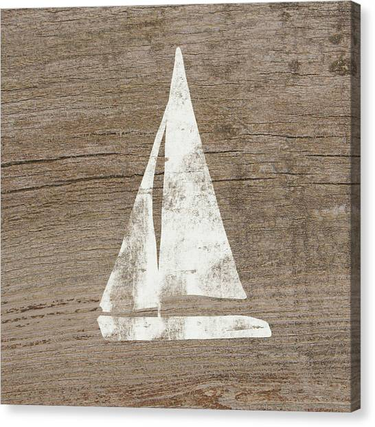 Sailboats Canvas Print - Sailboat On Wood- Art By Linda Woods by Linda Woods