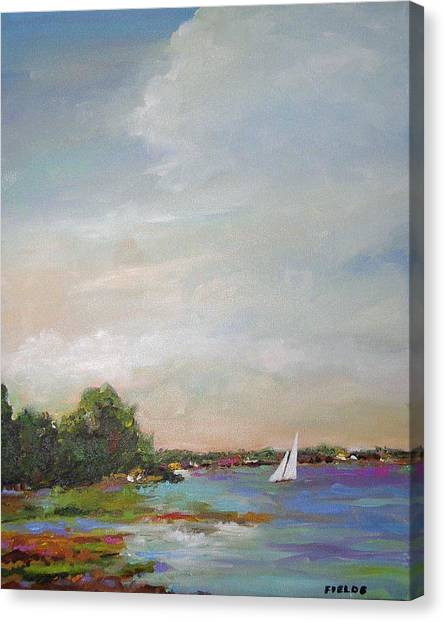 Sailboat Painting Meet You There Canvas Print by Karen Fields