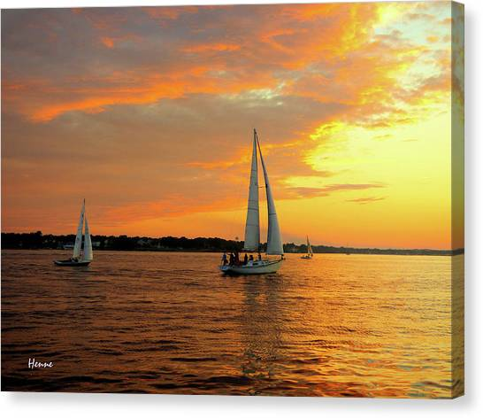 Canvas Print featuring the photograph Sailboat Parade by Robert Henne