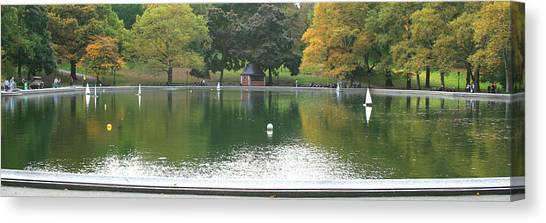 Sailboat Pond Panorama Canvas Print