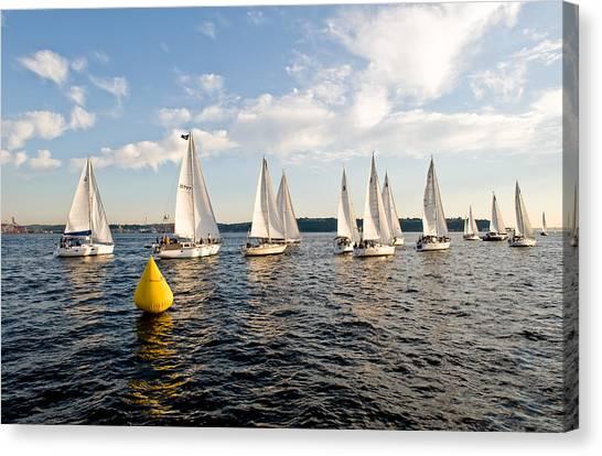 Sailboat Racers Canvas Print by Tom Dowd