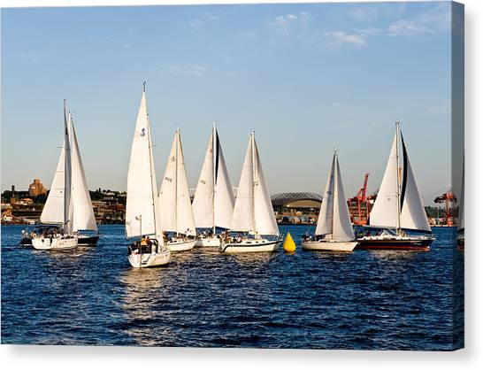 Sailboat Racing Canvas Print by Tom Dowd