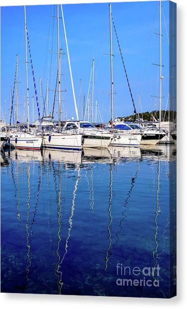 Sailboat Reflections - Rovinj, Croatia  Canvas Print