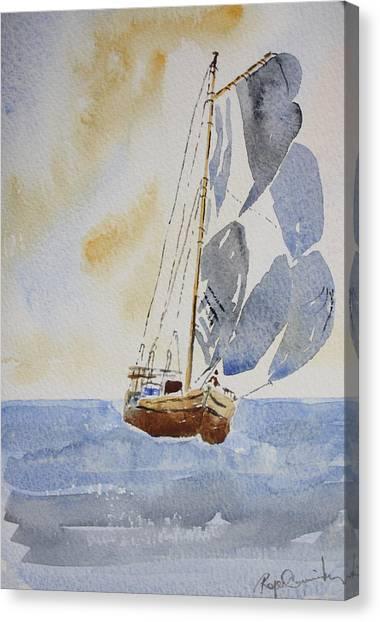 Sailboat Canvas Print by Roger Cummiskey