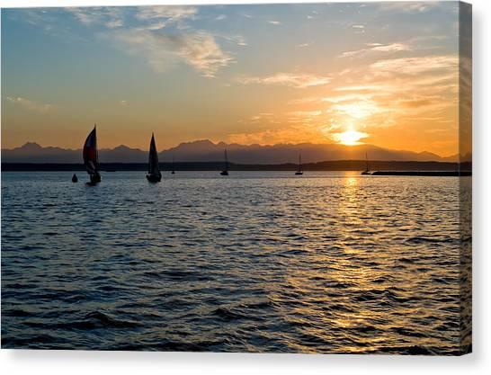 Sailboat Sillohette Sunset Canvas Print by Tom Dowd